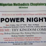NIGERIAN METHODIST CHAPLAINCY, MONTHLY POWER NIGHT: Theme: THY KINGDOM COME